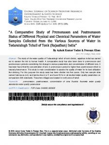 A Comparative Study of Premonsoon and ...