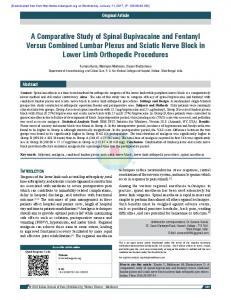 A Comparative Study of Spinal Bupivacaine and