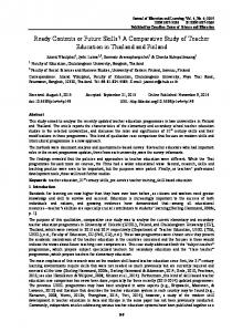 A Comparative Study of Teacher Education in Thailand and ... - Eric
