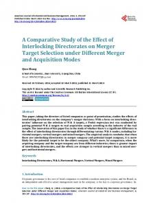 A Comparative Study of the Effect of Interlocking Directorates on ...