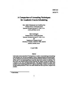 A Comparison of Annealing Techniques for Academic ... - CiteSeerX
