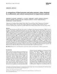 A comparison of blood pressure and pulse pressure values obtained ...