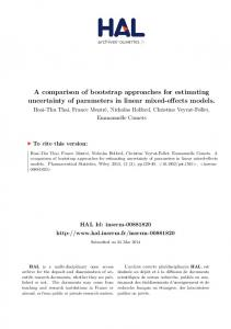 A comparison of bootstrap approaches for estimating ... - HAL-Inserm