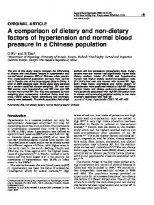 A comparison of dietary and non-dietary factors of ... - Nature
