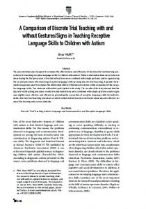 A Comparison of Discrete Trial Teaching with and without ... - Eric