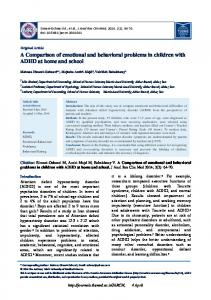 A Comparison of emotional and behavioral problems in ... - Journals