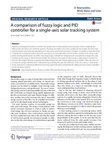 A comparison of fuzzy logic and PID controller for a single-axis solar ...