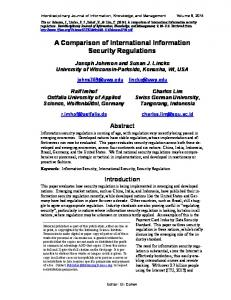 A Comparison of International Information Security Regulations