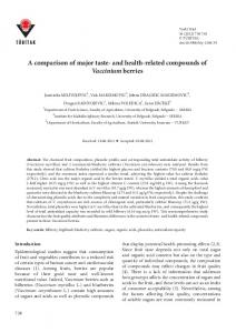 A comparison of major taste- and health-related ... - Tubitak Journals