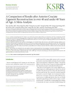 A Comparison of Results after Anterior Cruciate ...