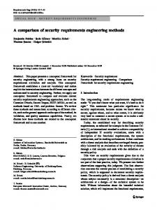 A comparison of security requirements engineering methods