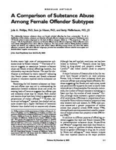 A Comparison of Substance Abuse Among Female Offender Subtypes
