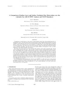 A Comparison of Surface Layer and Surface Turbulent ... - AMS Journals