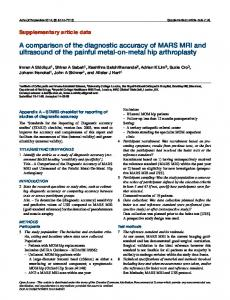 A comparison of the diagnostic accuracy of MARS ... - Acta Orthopaedica