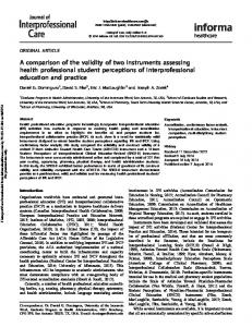 A comparison of the validity of two instruments assessing health ...