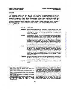 A comparison of two dietary instruments for evaluating ...