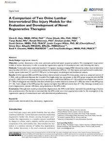 A Comparison of Two Ovine Lumbar Intervertebral Disc Injury Models ...