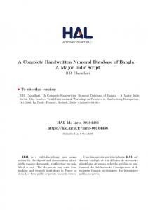 A Complete Handwritten Numeral Database of Bangla ... - HAL - INRIA
