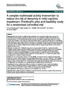 A complex multimodal activity intervention to reduce ... - Springer Link