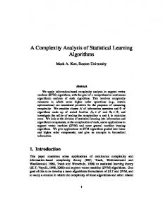 A Complexity Analysis of Statistical Learning Algorithms