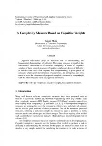 A Complexity Measure Based on Cognitive Weights
