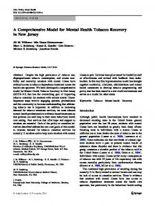 A Comprehensive Model for Mental Health Tobacco Recovery in New ...