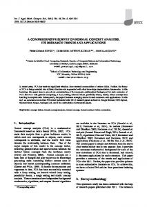 A COMPREHENSIVE SURVEY ON FORMAL CONCEPT ANALYSIS ...