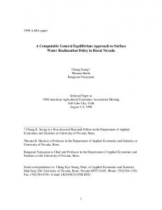 A Computable General Equilibrium Approach to ... - AgEcon Search