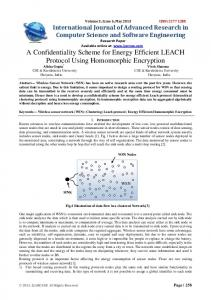 A Confidentiality Scheme for Energy Efficient LEACH Protocol Using
