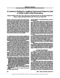 A Consensus Method for Updating Psychosocial ... - Unhealthy Work