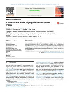 A constitutive model of polyether-ether-ketone (PEEK) - Core