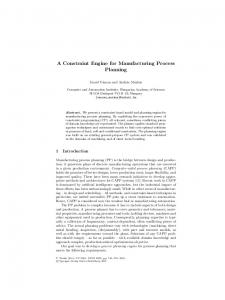 A Constraint Engine for Manufacturing Process Planning
