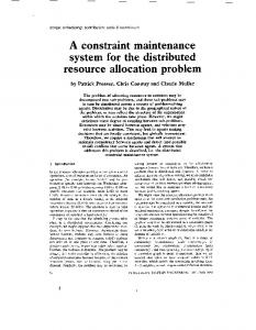 A constraint maintenance system for the distributed resource ...