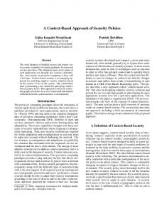 A Context-Based Approach of Security Policies - Association for the ...