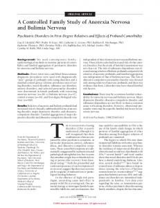 A Controlled Family Study of Anorexia Nervosa and Bulimia Nervosa