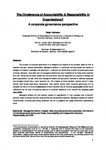 A corporate governance perspective