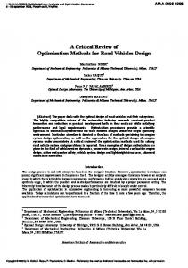 A Critical Review of Optimization Methods for Road Vehicles Design