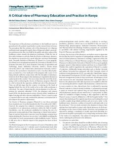 A Critical view of Pharmacy Education and Practice in ...