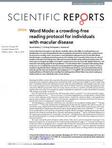 a crowding-free reading protocol for individuals with ...