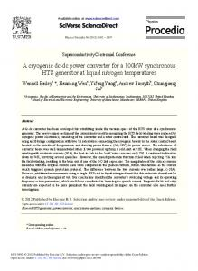 A Cryogenic Dc-Dc Power Converter for a 100kW ... - ScienceDirect