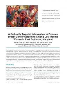 A Culturally Targeted Intervention to Promote Breast Cancer ...