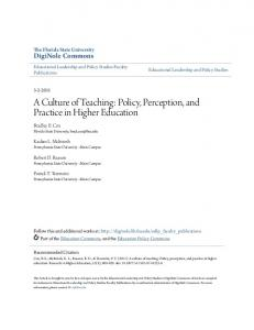 A Culture of Teaching: Policy, Perception, and ...