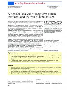 A decision analysis of longterm lithium treatment ... - Wiley Online Library