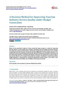 A Decision Method for Improving Tourism Industry Service Quality ...