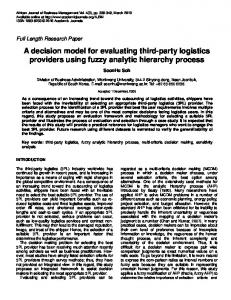 A decision model for evaluating third-party logistics providers using ...