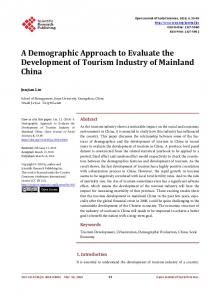 A Demographic Approach to Evaluate the Development of Tourism ...