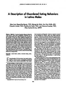 A Description of Disordered Eating Behaviors in Latino Males