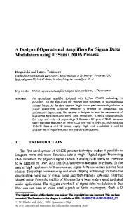 A Design of Operational Amplifiers for Sigma Delta ... - Semantic Scholar