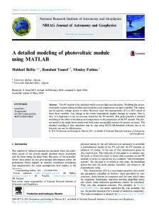 A detailed modeling of photovoltaic module using ...
