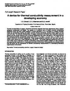 A device for thermal conductivity measurement in ... - Academic Journals